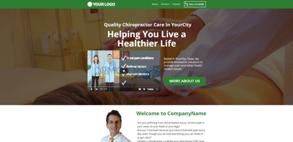 Chiropractor Landing Page With Video Image