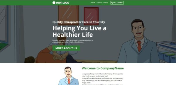 Chiropractor Landing Page With Cartooon Images (Lead Gen) Demo Image