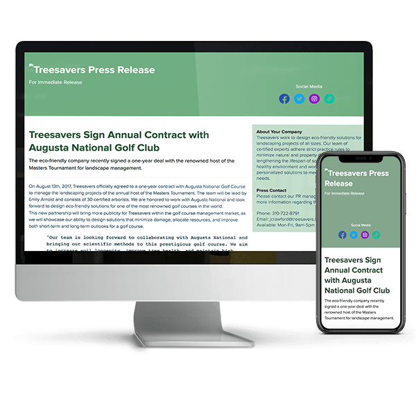 press release landing-pages